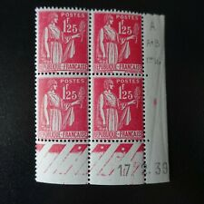 FRANCE TIMBRE TYPE PAIX N°370 COIN DATÉ 17.02.1939 NEUF ** LUXE MNH COTE 25€