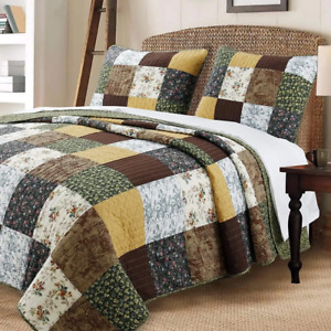 COZY COTTAGE PATCHWORK BROWN GREEN WHITE LEAF COUNTRY LOG CABIN QUILT SET - KING