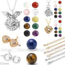 Harmony Gemstone Ball Cage Locket Bell Pendant Chain Necklace Lava Bead Diffuser