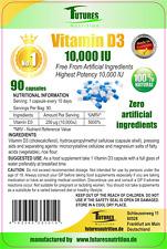Vitamine D3 10000IU Super Fort 90 Gélules Dose Élevée 10.000IU Pour Gélules