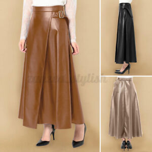 2021 Women A-Line Long Maxi Skirts Ladies Flare Swing Leather Casual Loose Dress