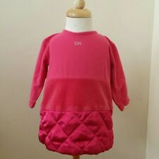 Sonia Rykiel baby dress size 6 months, pink cotton velour w/poly quilting, EUC