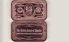 $1000.00  BILL  1 oz. Copper  BANK NOTE Bullion Bar