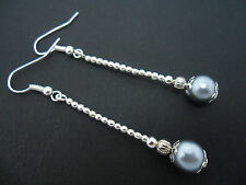 A PAIR OF LOVELY  SILVER PLATED SILVER GREY PEARL DROP  EARRINGS. NEW.