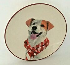 """Terrier Dog Puppy Scarf Bistro Plate Sleigh Bells Realistic 7"""" Tan White Red NWT"""