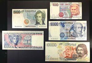 LOTTO BANCONOTE 3/ITALIA 1000 LIRE 5000 50000 VOLTO DONNA 100000 CARAVAGGIO