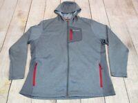 NICE Columbia Sportswear Heather Gray Red Full-Zip Hooded Jacket Men's Size 2XL