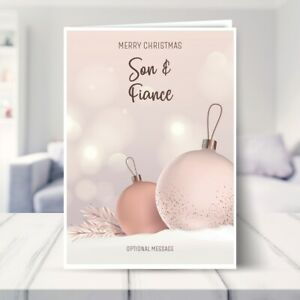 Son and Fiance Christmas Card - Luxury Baubles 7 x 5