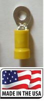 (100 pcs) 12-10 Yellow Vinyl  #10 Ring Terminal Electrical Connector Made in USA