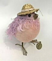 Katherines Collection Figure Chick Easter Flocked Feather Straw Hat Pink Purple