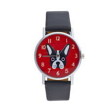 Pu Leather Bulldog Face Kitschy Watch Lux Accessories Black Red Silver Tone