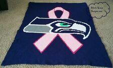 "Seattle Seahawks ""Breast Cancer Awareness Ribbon"" Crochet Blanket (new)"