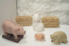 3 Pig Figurines 1 Piggy Bank 2 Straw Bales