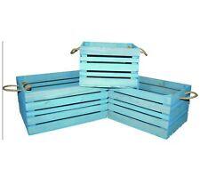3pc Rustico Vintage Crate shabby chic in legno FUNE A DOGHE FRUTTA Display Scatola Blu