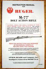 Original Instruction & Parts Manual - Ruger M-77 Bolt Action Rifle - NICE!