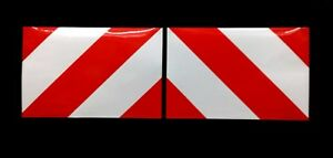 Magnetic Chevrons Reflective + Fluorescent Stripes 30cmx20cm Red/White
