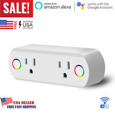 Smart Plug WiFi Socket 2 Outlet Remote Control Switch Work For Alexa Google Home