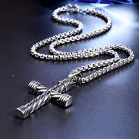 Vintage Religious Cross Stainless Steel Men's Silver Tone Necklace Pendant Chain