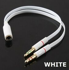3.5mm Female to 2 Male Y Splitter Cable for L/r Audio Microphone Mic PC Headset
