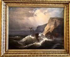 Mauritz Frederick Hendrick De Haas- Seascape Ship Oil On Canvas Painting 1868