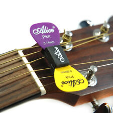 Alice Guitar Bass Pick Holder Black Rubber Pics Case On Headstock + 2 FREE Picks