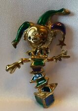 Swarovski Jack In The Box Toy Enamel Brooch Clown Jester Lapel Goldtone Pin
