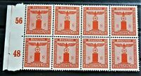 WW2 REAL NAZI 3rd REICH ERA GERMAN BLOCK OF 8 OFFICIAL STAMPS WITH MARG 8 rf