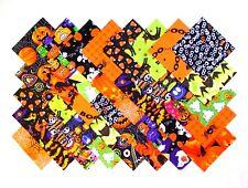 "HALLOWEEN PRINTS 4"" Squares, 100% cotton Prewashed  Quilt Block Fabric  (#123A)"