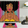 12 Hooks Flowers Shower Curtain Rug African Woman Waterproof Fabric Curtain Set