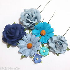 45 Blue Roses Daisies Mulberry Paper Flowers Wedding Scrapbooking Art ZM7-607