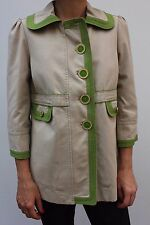 Juicy Couture Beige Green Trim Swing Pea Coat Trench Mac jacket M 12 40 New