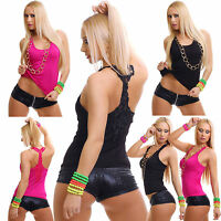 Sexy Women Clubbing Top New Ladies Lace Back Blouse Party Shirt Size 6 8 10 S M