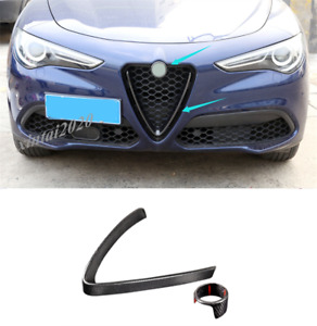 Real Carbon Fiber Front Grille Grill Cover Trim For Alfa Romeo Stelvio 2017-2019