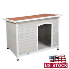 43'' Large Slant-Roofed Wood Dog Kennel Weather Resistant Home Outdoor Grey