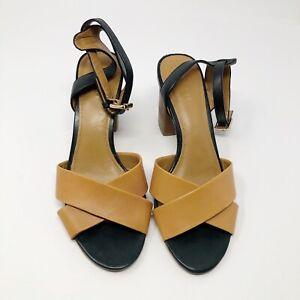 Coach Women's Size 7.5B Brown / Black Open Toe Sandal Heels