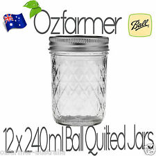 12 x 237ml 8oz Quilted Half Pint Ball Mason Canning Preserving Jam Jars BPA Free