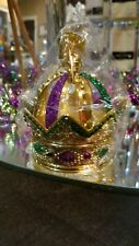 "4.5"" Gold plastic Crown w/Pgg glitter Mardi Gras ornament. Mardi Gras decoration"