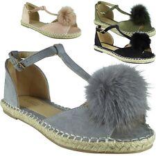New Womens Ladies T-Bar Fur Pom Pom Espadrilles Shoes Peeptoe Sandals Flats Size