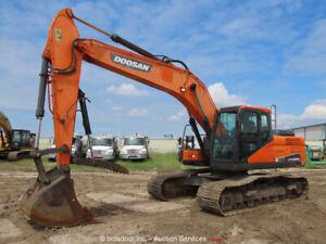 2016 Doosan DX225LC-5 Hydraulic Excavator Trackhoe A/C Cab Aux Hyd Thumb bidadoo