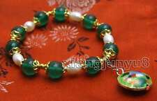 SALE 10mm Round Green Jade and White Rice Pearl Bracelet & Cloisonne pendant-382