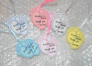 10 20 30 40 personalized  baby shower tags  6 colours to pick from