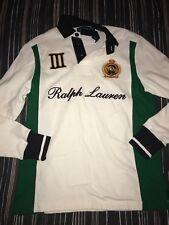 Polo Ralph Lauren Men Fleece rugby long sleeve Shirt Medium M  CUSTOM FIT