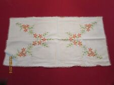 Vintage Embroidered and Crocheted Lilies Dresser or Sofa Scarf.