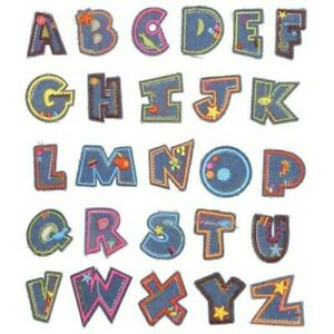 Jean A-Z Alphabet Letter Patches Embroidered Iron On Patch Diy Crafts