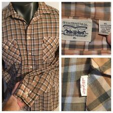 Vintage LEVI'S 65/35 Poly Cotton PLAID Shirt Mens XL White Tab HANK EARL KOREA