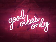 "14""x9""Good Vibes Only Neon Sign Light Party Wall Decor Visual Artwork Handcraft"
