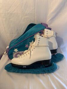 Vtg Riedell Ice Skates Size 7 1/2 White Leather Fiesta Blades Sheffield England