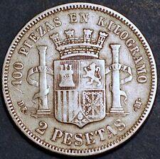1870 Spain. Governo Provizoria. 2 Pesetas DE M . Silver Coin.