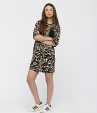 ADIDAS ORIGINALS CAMO Dress Tunic MILITARY BR5206 Loose Fit Womens  SIZE M