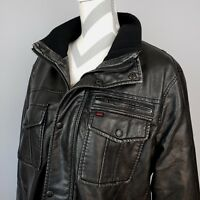 Levis Faux Leather Jacket Lg Black Fleece Lined Bomber Trucker Moto Biker Coat